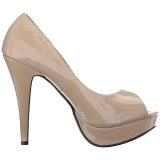 beige lakklær 13,5 cm CHLOE-01 store størrelser pumps sko