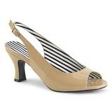 beige lakklær 7,5 cm JENNA-02 store størrelser sandaler dame