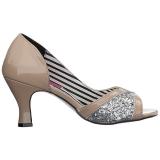 beige lakklær 7,5 cm JENNA-03 store størrelser pumps sko