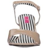 beige lakklær 7,5 cm JENNA-09 store størrelser sandaler dame