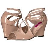 beige lakklær 7,5 cm KIMBERLY-04 store størrelser sandaler dame