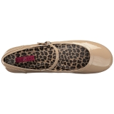 beige lakklær ANNA-02 store størrelser ballerina sko