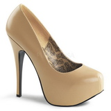beige matt 14,5 cm Burlesque BORDELLO TEEZE-06 platå pumps høy hæl