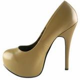 beige matt 14,5 cm Burlesque BORDELLO TEEZE-06 platå pumps høy hæl
