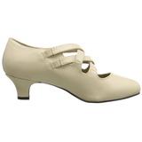 beige matt 5 cm retro vintage DAME-02 dame pumps med lave hæl