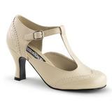 beige matt 7,5 cm FLAPPER-26 dame pumps sko flate hæl