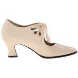 beige matt 7 cm VICTORIAN-03 dame pumps sko flate hæl