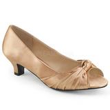 beige satin 5 cm FAB-422 store størrelser pumps sko