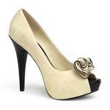 beige semsket 13,5 cm LOLITA-10 platå pumps åpen tå sko