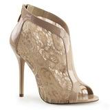 beige stoff 13 cm AMUSE-48 høye pumps fest sko med hæl