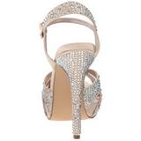 beige strass 12 cm LUMINA-23 høye fest sandaler med hæl