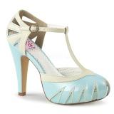 blå 11,5 cm BETTIE-25 pinup pumps sko med skjult platå