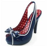blå 11,5 cm retro vintage BETTIE-05 høye damesko med hæl
