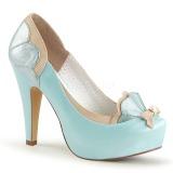 blå 11,5 cm retro vintage BETTIE-20 pinup pumps sko med skjult platå