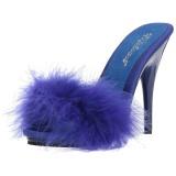 blå 13 cm POISE-501F marabou fjær høye sko mules