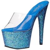 blå 18 cm ADORE-701LG glitter platå slip ins dame med hæler