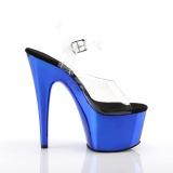 blå 18 cm ADORE-708 krom platå høye hæler sko
