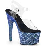 blå 18 cm ADORE-708MSLG glitter platå sandaler dame