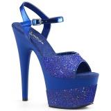 blå 18 cm ADORE-709-2G glitter platå sandaler dame