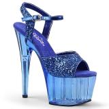 blå 18 cm ADORE-710GT glitter platå høye hæler dame