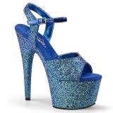 blå 18 cm ADORE-710LG glitter platå høye hæler dame