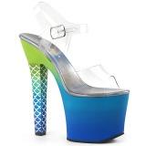 blå 18 cm ARIEL-708OMBRE akryl platå høye hæler dame