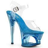 blå 18 cm MOON-708GFT glitter platå sandaler dame
