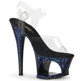 blå 18 cm MOON-708HSP hologram platå høye hæler dame