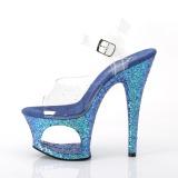 blå 18 cm MOON-708LG glitter platå høye hæler dame