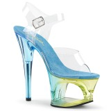 blå 18 cm MOON-708MCT akryl platå høye hæler dame