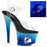 blå 18 cm MOON-708MER neon platå høye hæler dame