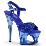 blå 18 cm MOON-710GT glitter platå høye hæler dame