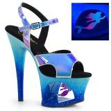 blå 18 cm MOON-711MER neon platå høye hæler dame