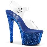 blå 18 cm SKY-308LG glitter platå høye hæler dame