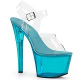 blå 18 cm SKY-308T-2 akryl platå høye hæler dame