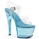 blå 18 cm SKY-308T akryl platå høye hæler dame
