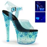 blå 18 cm SKY-308UVMG neon platå høyhælte sandaler sko