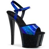 blå 18 cm SKY-309HG hologram platå høye hæler dame