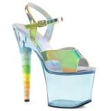 blå 18 cm UNICORN-711T akryl platå høye hæler dame