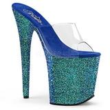 blå 20 cm FLAMINGO-801LG glitter platå slip ins dame med hæler