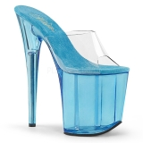 blå 20 cm FLAMINGO-801T platform høyhælte mules sko