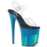 blå 20 cm FLAMINGO-808-2HGM glitter platå sandaler dame