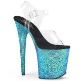 blå 20 cm FLAMINGO-808MSLG glitter platå sandaler dame