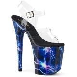 blå 20 cm FLAMINGO-808STORM hologram platå høye hæler dame