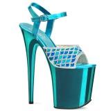 blå 20 cm FLAMINGO-809MMRS glitter platå sandaler dame