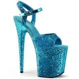blå 20 cm FLAMINGO-810LG glitter platå høye hæler dame