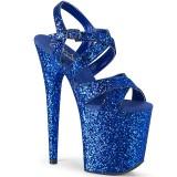blå 20 cm FLAMINGO-897LG glitter platå høye hæler dame