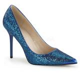 blå glimmer 10 cm CLASSIQUE-20 dame pumps sko stiletthæl
