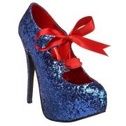 blå glimmer 14,5 cm TEEZE-10G concealed burlesque spisse pumps med stiletthæler