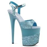 blå glinser 20 cm Pleaser FLAMINGO-809-2G høye hæler platå